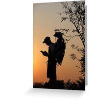Geocaching at sunset Greeting Card