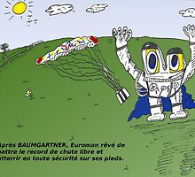 Euroman et José Manuel BARROSO en caricature by Binary-Options