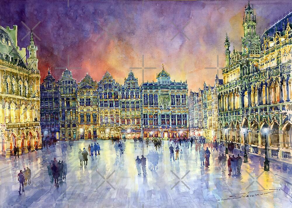 Belgium Brussel Grand Place Grote Markt by Yuriy Shevchuk