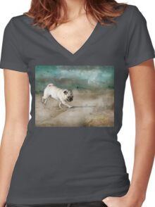 When Pugs Fly Women's Fitted V-Neck T-Shirt