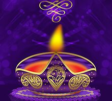 Diwali Greeting Card In Gold And Purple With Bokeh Lights by Moonlake
