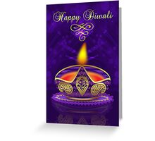 Diwali Greeting Card In Gold And Purple With Bokeh Lights Greeting Card