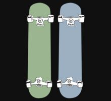 Green and Blue Skateboards  One Piece - Long Sleeve