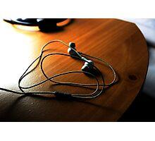 Headphones in the desk Photographic Print