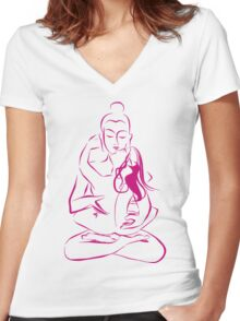 Tantra Buddha - Combining sexuality and spirituality Women's Fitted V-Neck T-Shirt