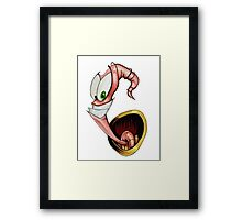 Funny gaming worm Framed Print