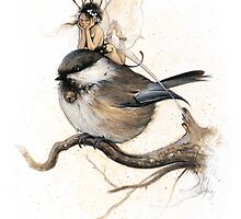 The Sulky Faery on the Chickadee by JBMonge