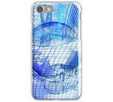 Blue Scape Head Wire  iPhone Case/Skin