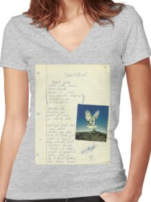 grunge VINTAGE POEM BY TIA KNIGHT Blackbird Women's Fitted V-Neck T-Shirt