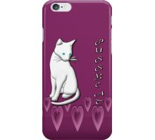 White Pussycat on a Bed of Hearts iPhone iPhone Case/Skin