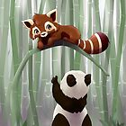 Red panda and panda bear cub by Tunnelfrog
