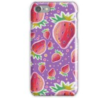 Chalk Pastel Strawberry Pattern iPhone Case/Skin