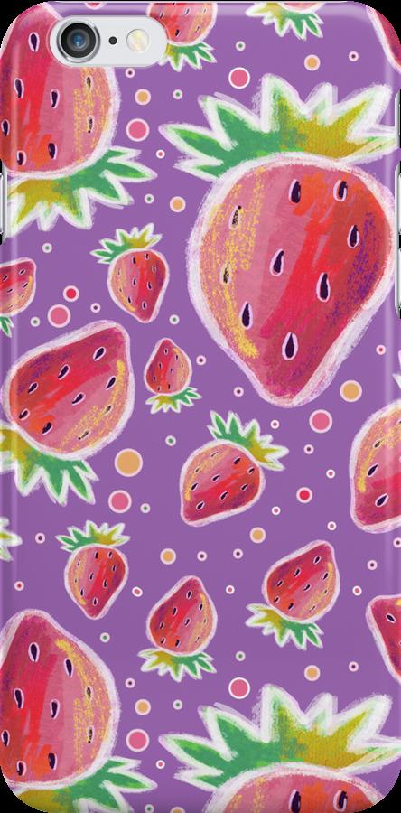 Chalk Pastel Strawberry Pattern by SaradaBoru