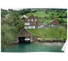 Boat house on the slope on Lake Lucerne Poster