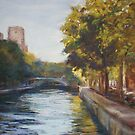 Canal St Martin, Paris - pastel by Terri Maddock