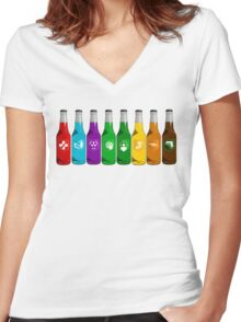 Perks all lined up Women's Fitted V-Neck T-Shirt