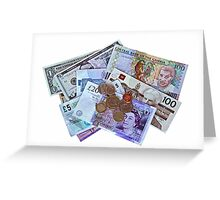 Currency isolated on white Greeting Card