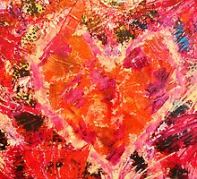MEND ME - Broken Heart Abstract Artwork Bright Bold Crimson Magenta Black Leopard Print by EbiEmporium