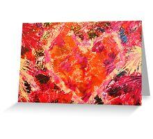 MEND ME - Broken Heart Abstract Artwork Bright Bold Crimson Magenta Black Leopard Print Greeting Card