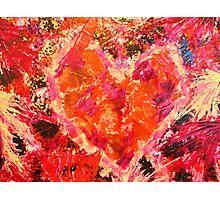 MEND ME - Broken Heart Abstract Artwork Bright Bold Crimson Magenta Black Leopard Print Photographic Print
