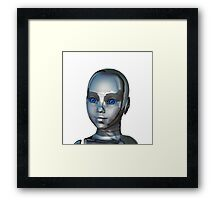 Young robotic Girl Face Framed Print
