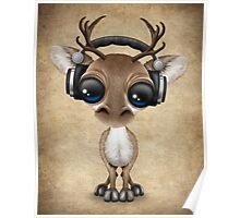 Cute Musical Reindeer Dj Wearing Headphones Poster