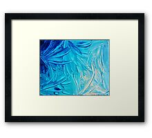 WATER FLOWERS - Beautiful Water Ocean Theme Shades Blue Floral Modern Design Abstract Painting Framed Print