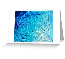 WATER FLOWERS - Beautiful Water Ocean Theme Shades Blue Floral Modern Design Abstract Painting Greeting Card