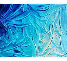 WATER FLOWERS - Beautiful Water Ocean Theme Shades Blue Floral Modern Design Abstract Painting Photographic Print