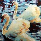 Abstract Impressionist Swans Painting by Samuel Durkin
