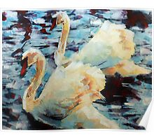Abstract Impressionist Swans Painting Poster