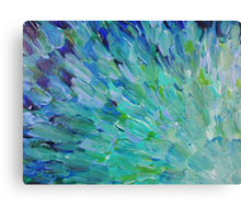 SEA SCALES - Beautiful BC Ocean Theme Peacock Feathers Mermaid Fins Waves Blue Teal Abstract Canvas Print