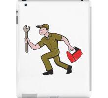 Mechanic Spanner Toolbox Running Isolated Cartoon iPad Case/Skin