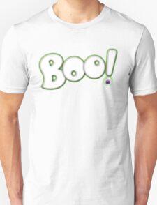 Cartoon Bold Hand Lettering 'Boo' Halloween Typography - with purple eyeball Unisex T-Shirt