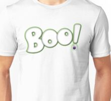 Cartoon Bold Hand Lettering 'Boo' Halloween Typography - with purple eyeball Unisex T-Shirt