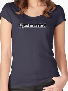 Just Married - Hashtag - Black & White Women's Fitted Scoop T-Shirt