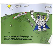 Euroman et Felix BAUMGARTNER caricature Poster