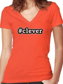 Clever - Hashtag - Black & White Women's Fitted V-Neck T-Shirt