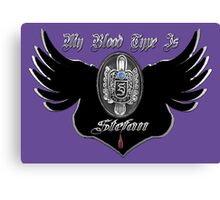 My Blood Type Is Stefan Purple & Black VD Fan Logo Canvas Print