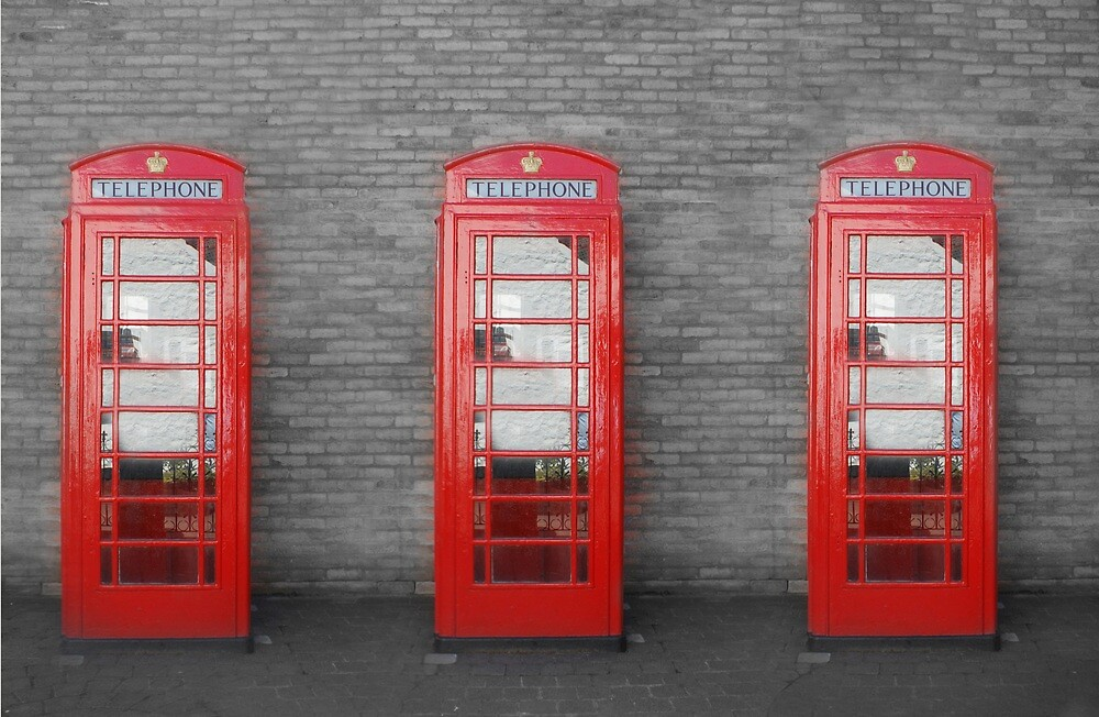 Trio of olde UK telephone boxes. by quoile