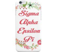 Sigma Alpha Epsilon Pi Floral Border iPhone Case/Skin