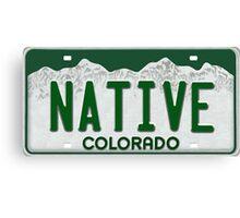 Colorado Native License Plate Canvas Print