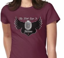 My Blood Type Is Damon Purple & Black VD Fan Logo Womens Fitted T-Shirt
