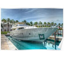 Yacht docked at Atlantis Marina in Paradise Island, The Bahamas Poster