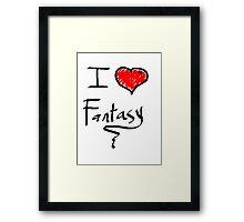 i love fantasy heart  Framed Print