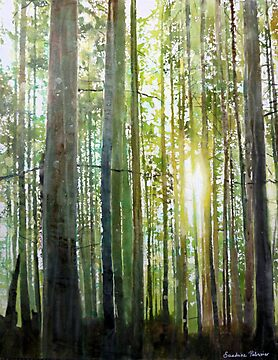Princess Park, watercolor on paper mounted on board by Sandrine Pelissier