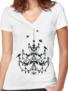 Bird Chandelier Women's Fitted V-Neck T-Shirt