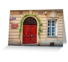 Praha: The Red Door Greeting Card