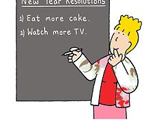 New Year resolution humor, cake and TV. by KateTaylor