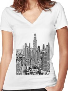 BIG CITY LIFE Women's Fitted V-Neck T-Shirt